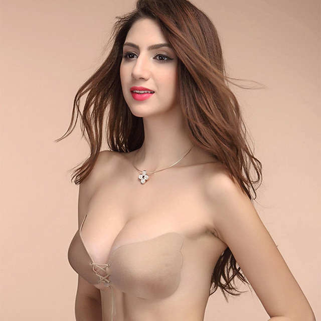 11e25483e3 Online Shop MOONBIFFY Sexy Self Adhesive Strapless Bra Bandage Stick Gel  Silicone Push Up Invisible Seamless Backless Bra 2 styles
