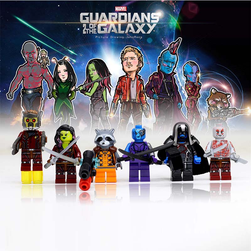 Marvel SuperHeroes minifigure Guardians of the Galaxy 2 Star-Lord Rocket mini figure Bui ...