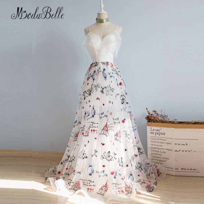 9df832e147 modabelle Spaghetti Straps Floral Prom Dress 2018 Elegant Beach Summer A  line Galajurken Lang Evening Long Dress Prom Gowns-in Prom Dresses from  Weddings ...