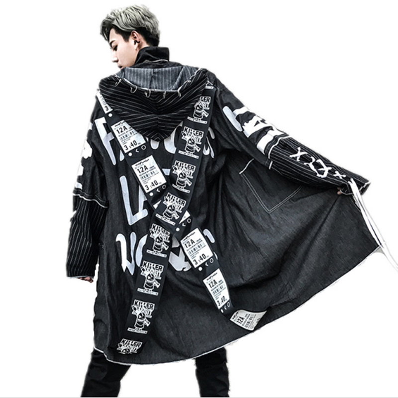 Men Hooded Cool Laser Cloak Long Trench Coat Custom Made Stage Costumes Fashion Show Clothes Male Loose Cardigan Jacket To Have A Long Historical Standing Jackets & Coats Trench
