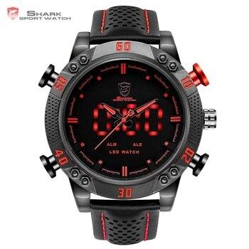 Kitefin כריש ספורט שעון מותג Mens הצבאי קוורץ אדום LED שעה אנלוגי דיגיטלי מעורר תאריך עור יד שעונים Relogio/ SH261