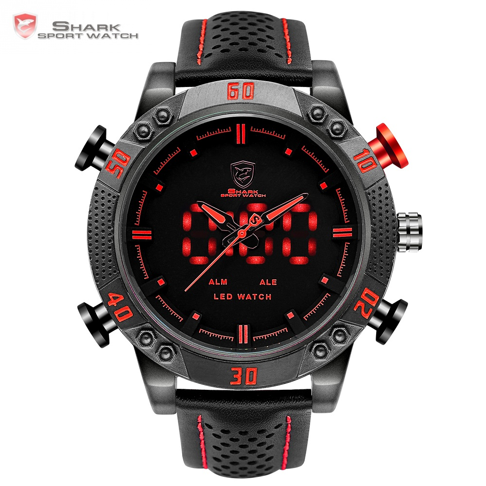 Kitefin Shark Sport Watch Märke Mens Military Military Quartz Red LED Hour Analog Digital Date Alarm Läder Armbandsur Relogio / SH261