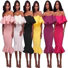 S-XL new women fashion slash neck dress lady off shoulder ruffles fishtail night evening party midi