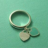 Blue Enamel Mini Double Heart Charm Rings Women 100% Genuine Sterling Silver 925 Brand Design Top Quality Jewelry Women Gifts