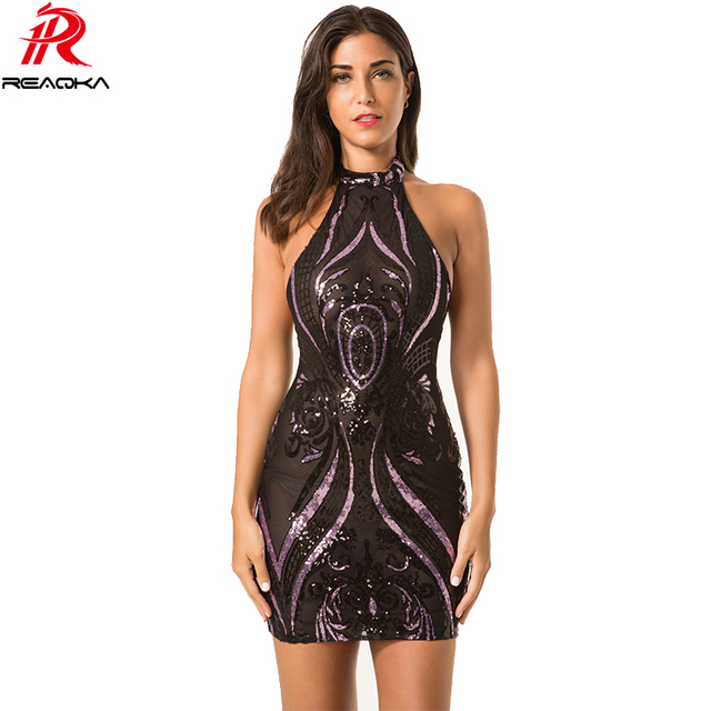 Reaqka Sexy Party Night Sequins Summer Dress 2018 Women Elegent Vintage Party Dresses Shinning Black Backless Lace Mesh Vestidos