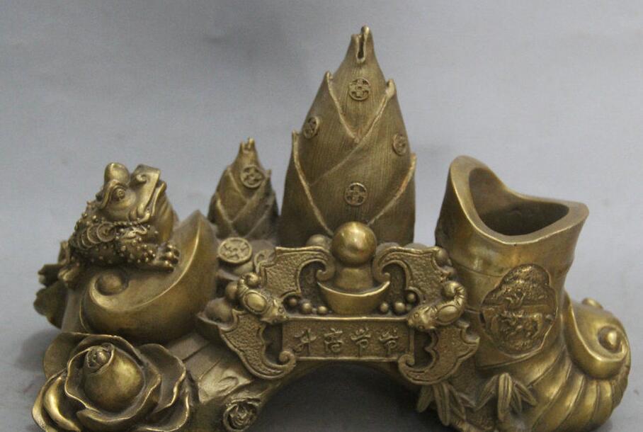 Details about  11 Chinese Brass Golden Toad Spittor Bamboo Shoot Wealth Bat Statue Sculpture  Details about  11 Chinese Brass Golden Toad Spittor Bamboo Shoot Wealth Bat Statue Sculpture