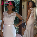 Elegant Long Mermaid Bridesmaid Dresses Sleeves Lace Stain Pleated Back Zipper Court Train Plus Size