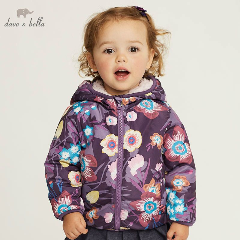 DB4258 C dave bella autumn infant baby girls fashion coat toddler girls print Hooded coats children