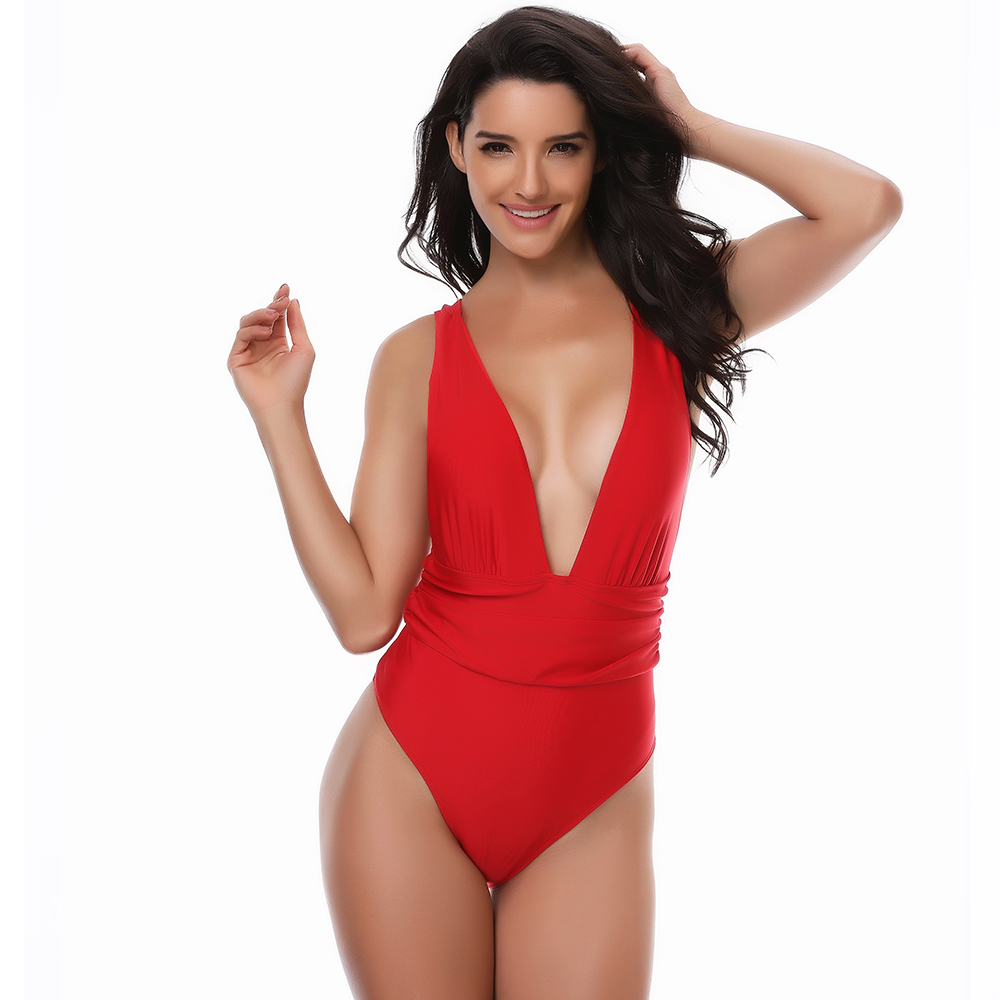 цены 2018 Summer Sexy One Piece Swimsuit High Waist Swimwear Women Push Up Bathing Suit Deep V Neck Beachwear Bodysuit Monokini