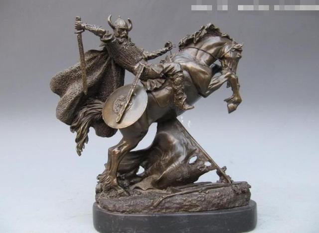 11 inch japan pure bronze copper marble samurai warrior ride horse