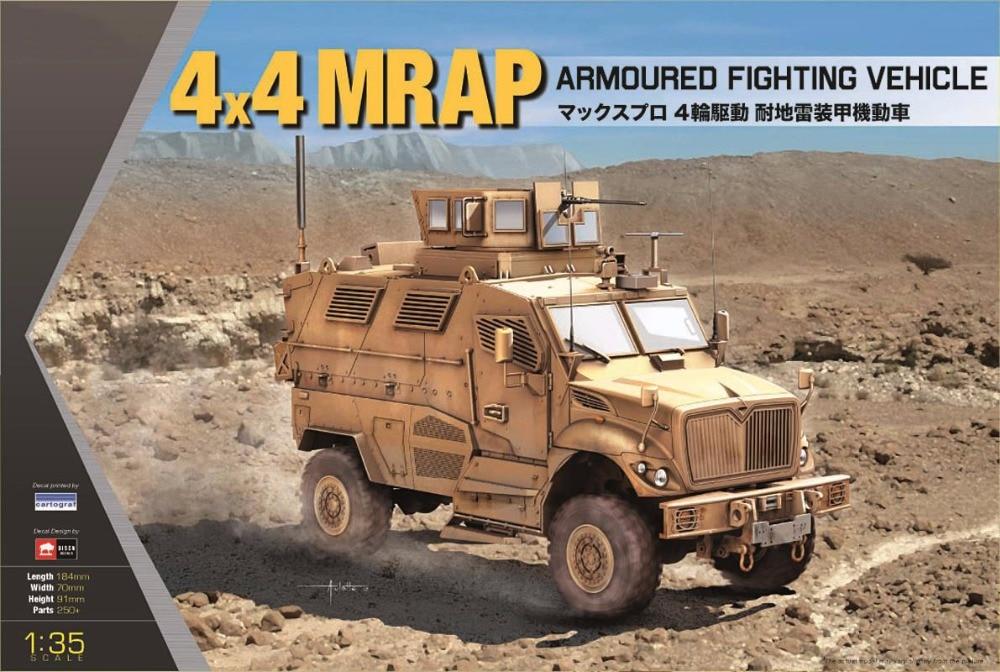 1 35 Scale KINETIC K61011 US 4 4 MRAP Armoured Fighting Vehicle Plastic Model Building Kit