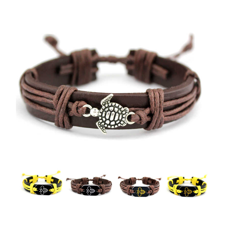 Fashion Boho Bees Honeybee Male Bracelets Sea Turtle Leather Wrap Bracelet for Men