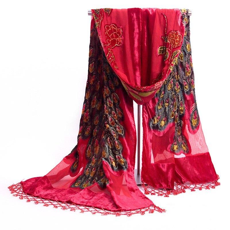2019 nouveau rouge Style chinois femmes à la main broderie velours perlé châle écharpe Wrap écharpes peafchouette livraison gratuite 172x68 cm