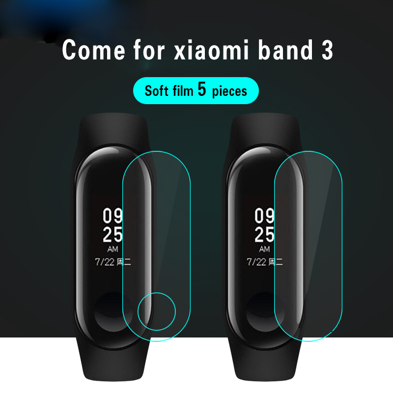 XIAOMI 5Pcs Screen Protector Film For Xiaomi Mi Band 3 Smart Wristband Bracelet half Cover Protective Films Not Tempered Glass tempered glass screen protector for xiaomi mi 5 transparent