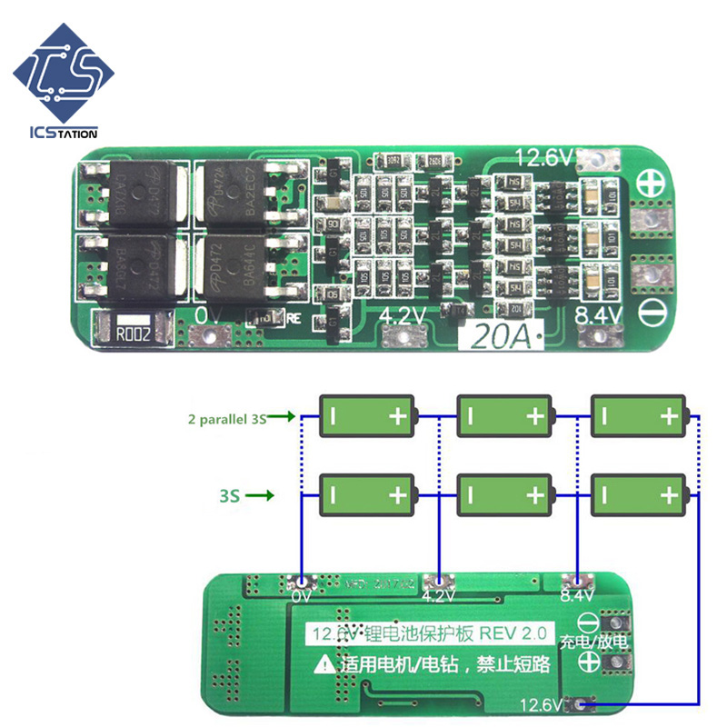 3S 20A 18650 Lithium Battery Protection Board Li-ion Lipo Battery Charger Protection PCB BMS 12.6V For Driving Drill Motor lithium ion smart bms for 16s 20s li ion or lifepo4 battery
