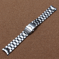 18mm 20mm 22mm 24mm Watchband Stainless Steel Metal Watch Bands Curved End Watches Safety Deployment Buckle