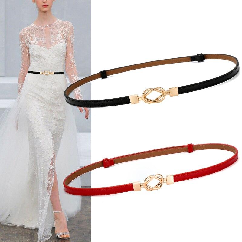 אופנה נשים אבנטי אבזם מעגל זהב חם PU מותני חגורות עור לנשים מפלגה שמלה נשית השחור דק להתאים את החגורה