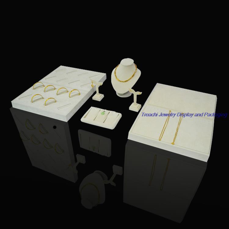 Beige Velvet Jewelry Display Tray Showcase for Necklace, Bangle Holder Storage Casket, Neckform Bust for Pendant, Earring Stand