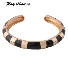 Royalhouse Fashion Bracelets for Woman Zinc alloy printing Bangles Open Gradient Manual for National Charm Jewelry Gift