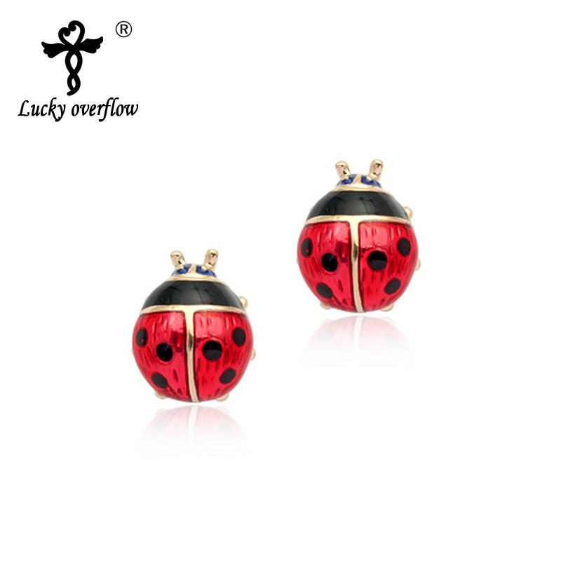 Hot Sale 2018 Fashion Jewelry Red Oil Drip Ladybug Earrings For Women Summer Rose Charm Stud Earrings Boucle Doreille femme