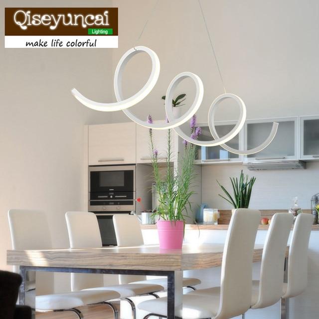 Qiseyuncai Moderne En Aluminium + Acrylique Led Spirale Pendentif