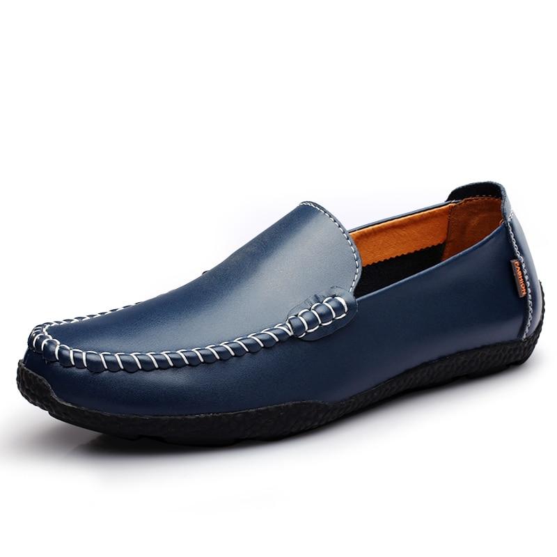 2019 Hombre white Los Clásico Nuevos Cómodos Moda Cuero Blue Brown Black Zapatos orange light Hombres deep De Casuales Mocasines Conducción TPFTxgq
