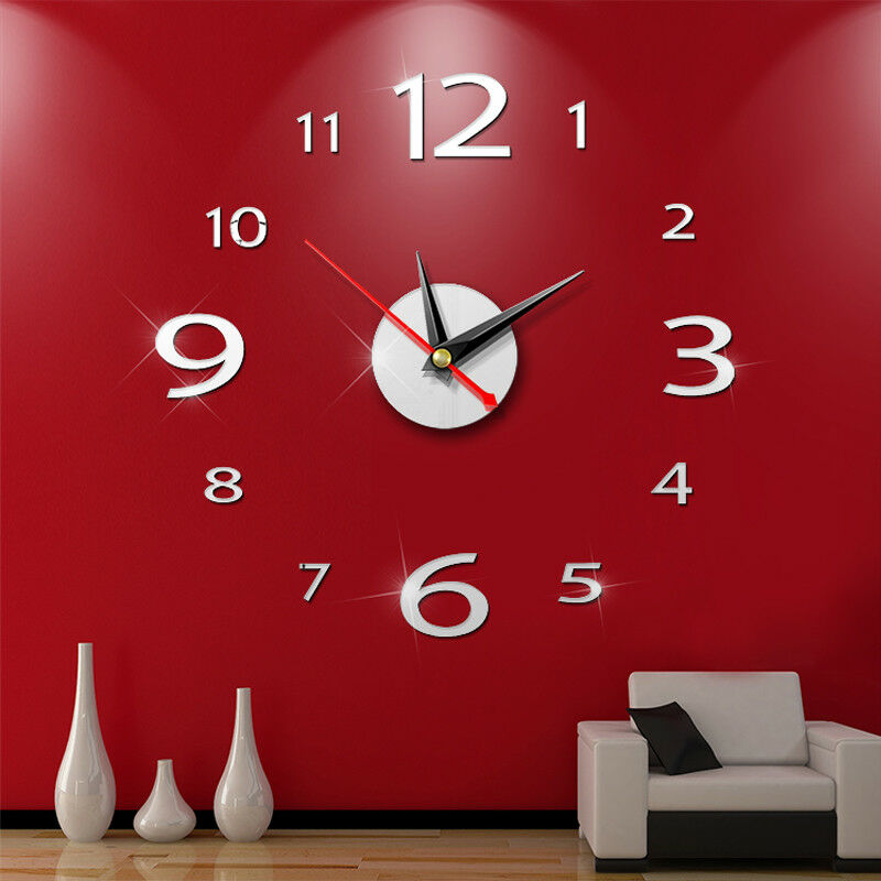 Modern Large 400mm 3D Mirror Surface Wall Clock 3D Wall Sticker Home Office Room DIY Wall Decor Home Decor Accessories(China)