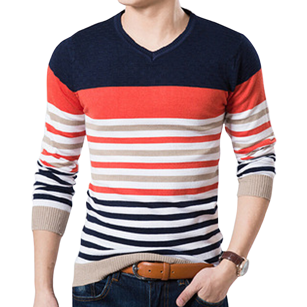 High Quality Casual Sweater Men Pullovers winter Knitting long sleeve v-Neck slim Knitwear Sweaters size orange Black Blue M-2XL