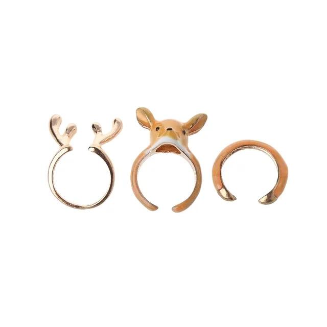 3PCS Stack Enamel Squirrel Elk Swan Animal Ring For Women Open Cuff Rings Set Fashion Jewelry