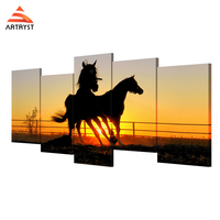 Artryst Sunset Dusk Landscape Animal Hores On Canvas Wall Art Prints For Living Room Ideas HD