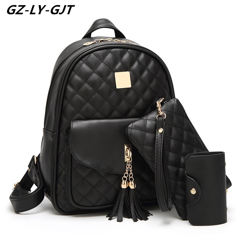 GZ LY GJT Brand PU Leather Back Pack Fashion Designed Girls Backpacks For Women Casual Teenager
