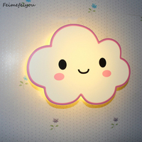 Feimefeiyou Pink LED Modern Wall Lamps Children Baby Kids Bedroom Bedside Lamp Cartoon Clouds Shape 90