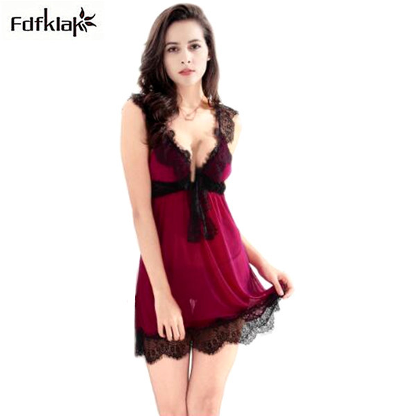7aacd89a1f Sexy women night dress sleepwear spaghetti strap summer nightgowns female  short lace lingerie indoor clothing nightshirts A11