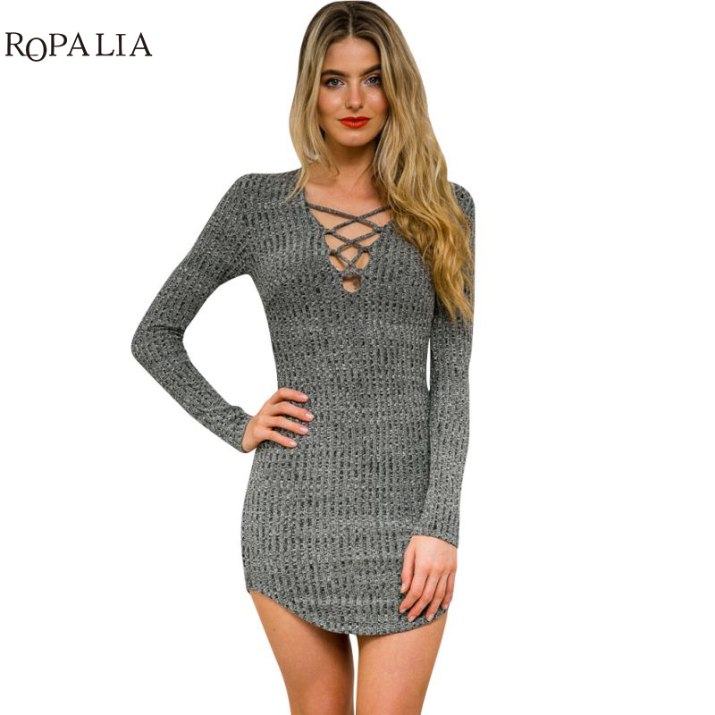 ROPALIA Women Knitted Dresses Long Sleeve V Neck Lace Up Sweater Casual Bodycon Mini Dress