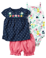 2017 Free Ship Baby Girl Clothes Set Kids Bebes Clothing Summer Set Floral Baby Romper Style
