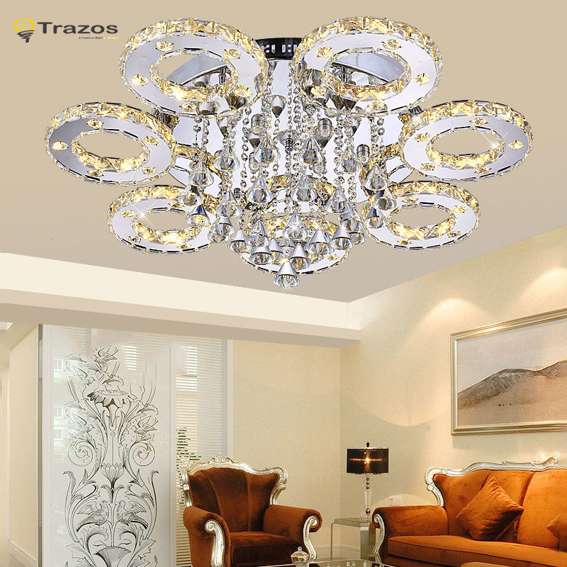 Modern Led Crystal Ceiling Lights For Living Room luminaria teto cristal Ceiling Lamps For Home Decoration Free shipping 6pieces dhl free shipping super bright 38leds rgbw remote control waterproof outdoor wireless glowing module led