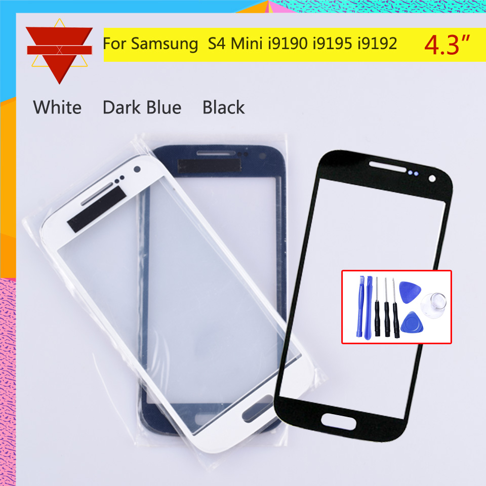 For Samsung Galaxy S4 Mini I9190 I9195 I9192 GT-i9192 Touch Screen Front Glass Panel TouchScreen Outer Glass Lens NO LCD