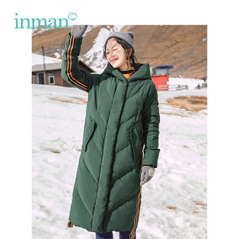 INMAN Winter New Arrival Female Contrast Color Hooded Slim Pocket Long Section Women   Down     Coat