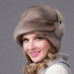 JKP-chapeau en fourrure pour femmes   Chapeau d'hiver en cuir pleine fleur, chapeau de luxe à la mode pour femmes, livraison gratuite, 2018