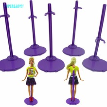 5 Pcs/lot Plastic Purple Stand Figure Display Holder Toy Model Prop Up Accessories For Barbie FR 1:6 Doll Kid Dollhouse Toy Gift