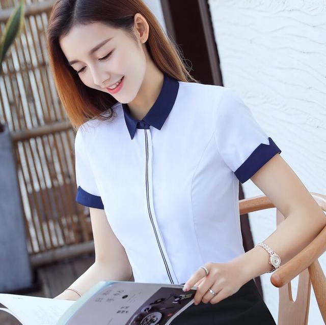 New Fashion Women Cotton Shirt Spring Formal Elegant Blouse Office Ladies Work Wear Plus Size Tops 8