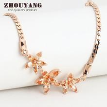 ZHOUYANG Top Quality ZYH020 Three Golden Flowers Rose Gold Color Bracelet Austrian Crystals Wholesale