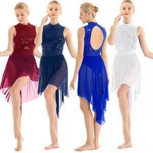 Image 2 - TiaoBug dorosłych Halter bez rękawów błyszczące cekiny gimnastyka trykot kobiety Tutu balet body łyżwiarstwo sukienka liryczne kostiumy do tańca