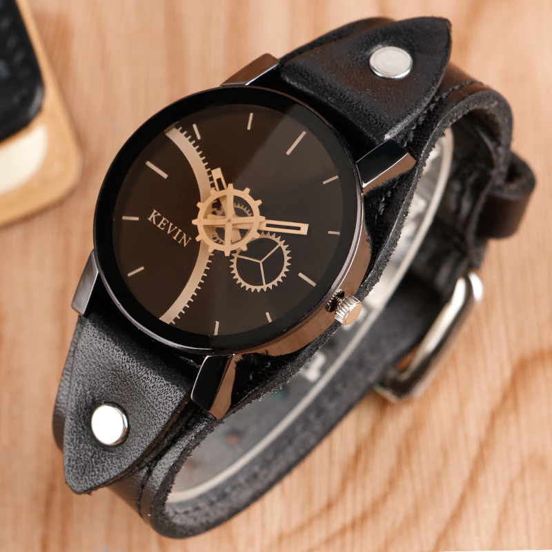 Punk Mens Womens Bracelets Quartz Watch Luxury Brand Gear Wheel Analog Dial Casual Leather Band Strap Rock Sport Wristwatches цена