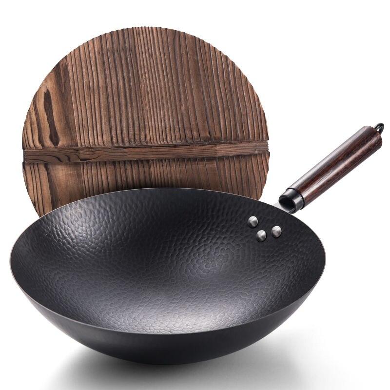 Pan Iron Pot Vintage Forged Stainless Wok Non-stick Pan Gas Stove Household 32CM Kitchen Wok Cooking Pot Wok Non Stick Pan