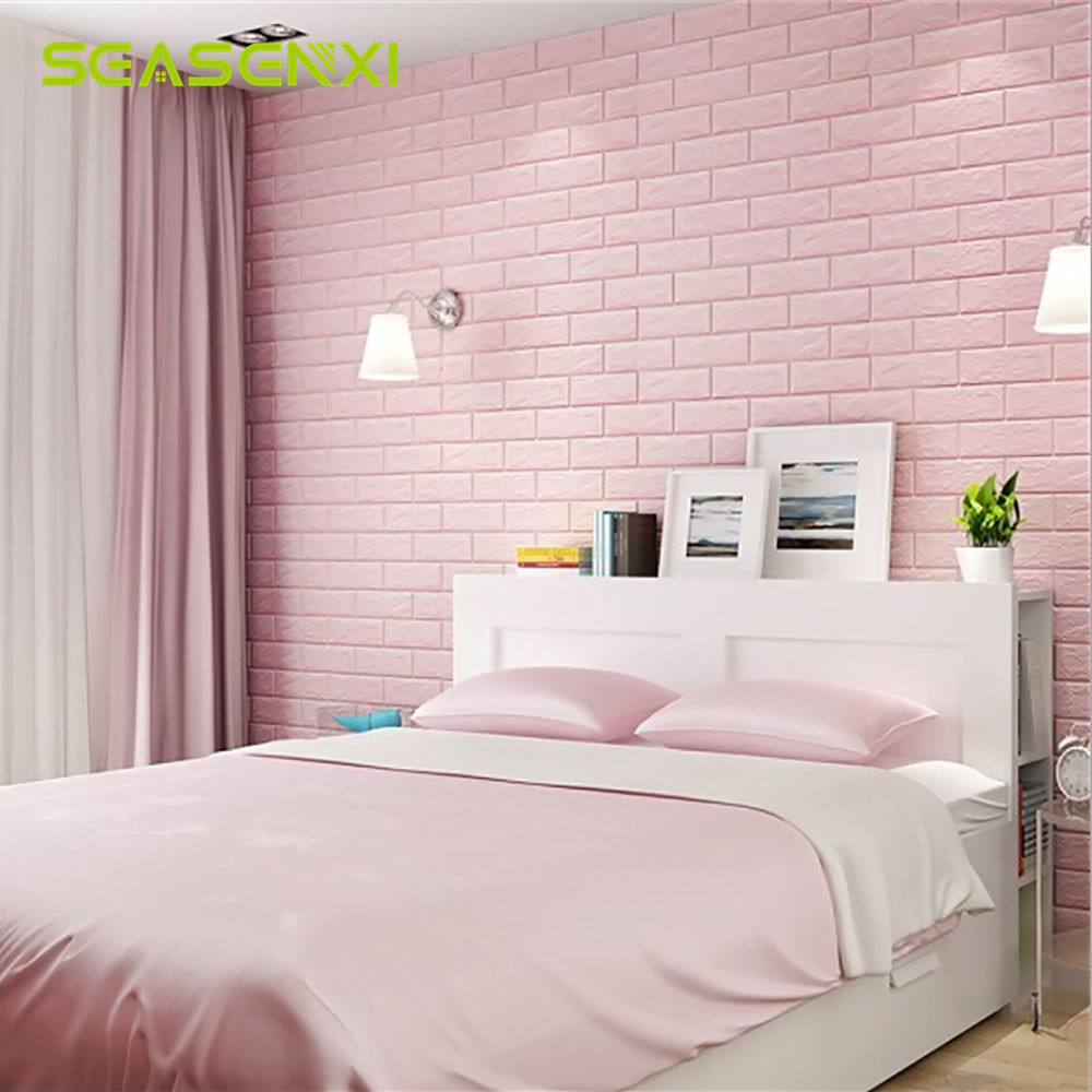 3D Wallpaper Home Bedroom Living Room Kitchen Dormitory Wall Stickers Retro Brick Pattern Colorful Decorations For Kids Girls
