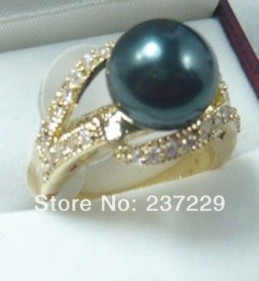 Wholesale price FREE SHIPPING ^^^^Brilliant White Crystal Inlay Heighten Black Pearl Golden Lady Prom Ring Jewelry
