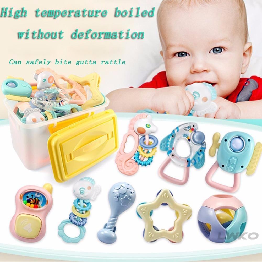 LWKO 8Pcs Baby RattlesToys Babies Teether Soft Silicone ...