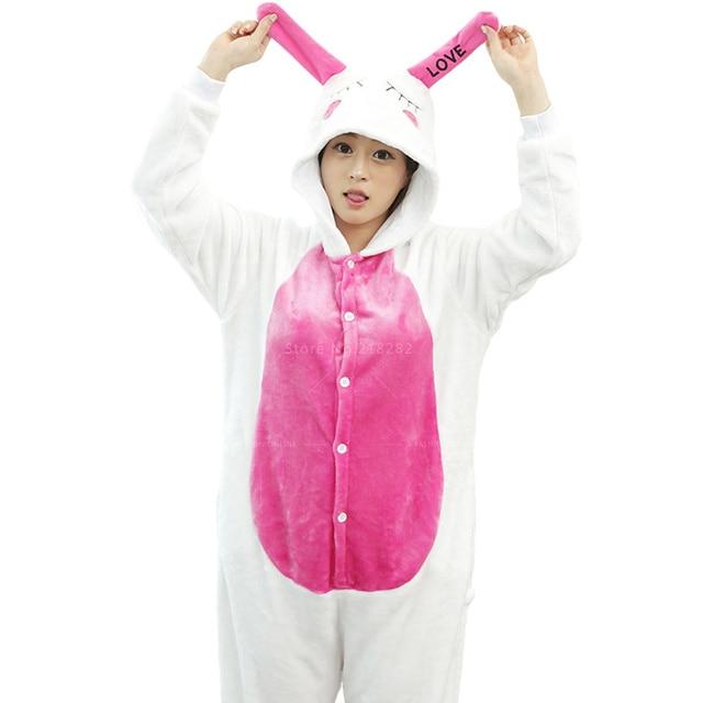 Ventas Unicorn Adultos Fleece Unisex Onesies Pijamas de Franela Mujer Pink Animal Pijamas Cosplay Traje de Conejo ropa de Noche Femme Regalo