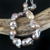 Miss008 Large Baroque Flame ball Pearl Bead Strand Bead Nucleated Multi Color